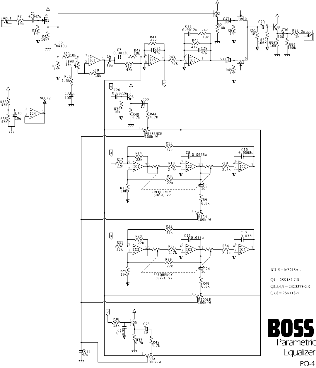 Boss PQ-4 Parametric Equalizer schematic needed